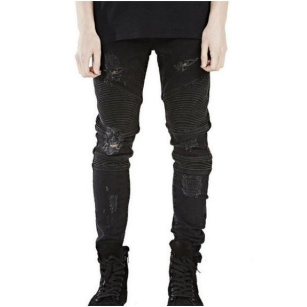 Black Ripped Denim Biker Jeans // Streetwear Fashion | ZARGARA X Babes & Gents | www.babesngents.com