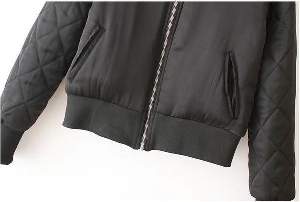 Black Bomber Jacket with quilted arms (Ladies) // zargara streetwear hypebeast highsnobiety complex // www.babesngents.com
