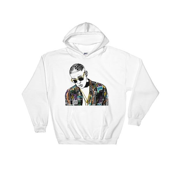 Bad Bunny White Hoodie Sweater (Unisex), Babes & Gents, Ottawa