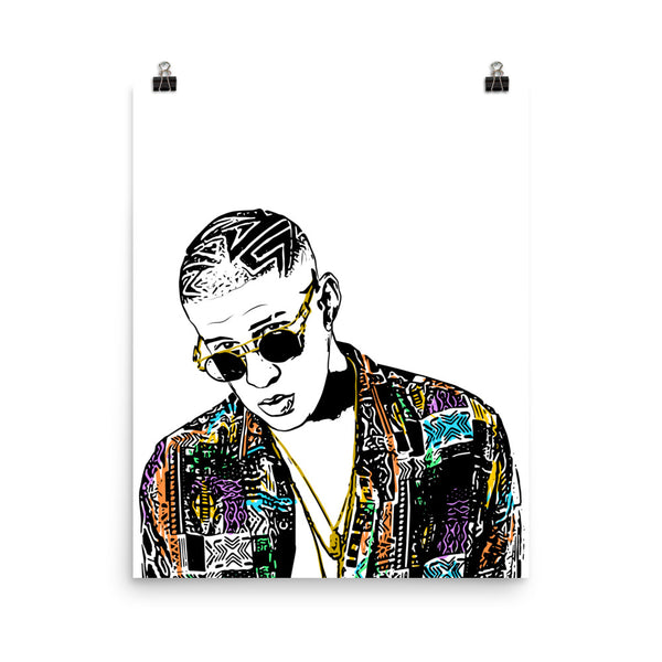 Bad Bunny Art Poster (6 sizes) // Babes & Gents // www.babesngents.com