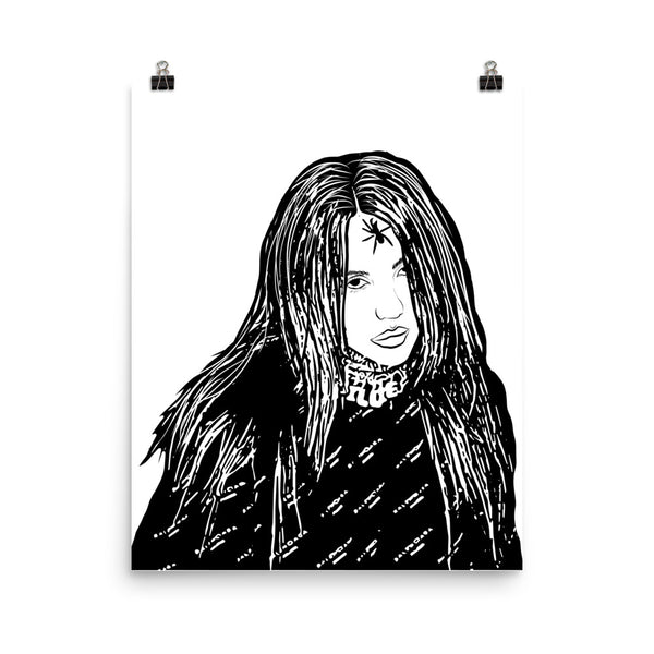 Billie Eilish Art Poster (8x10 to 24x36) // Babes & Gents // www.babesngents.com