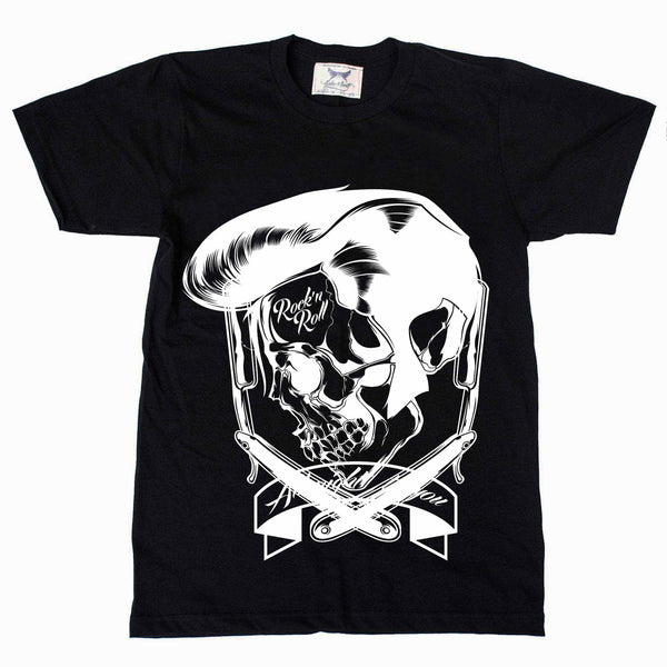 Elvis Rock N Roll Barber Skull Black Tee
