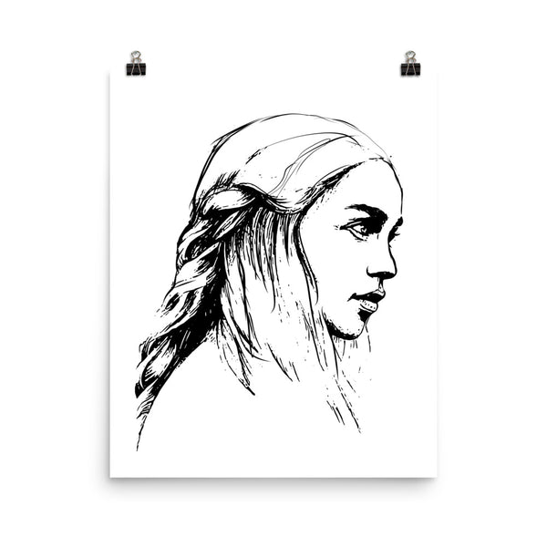 Emilia Clarke Game of Thrones Khaleesi Mother of Dragons  11x17 Art Poster, Babes & Gents, www.babesngents.com