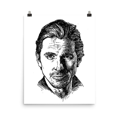 Christian Bale Art Poster (8x10 to 24x36)