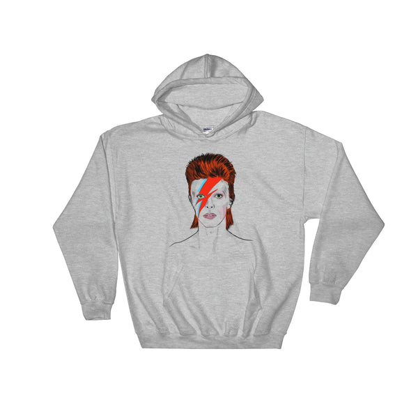David Bowie Grey Hoodie Sweater (Unisex), Babes & Gents, Ottawa