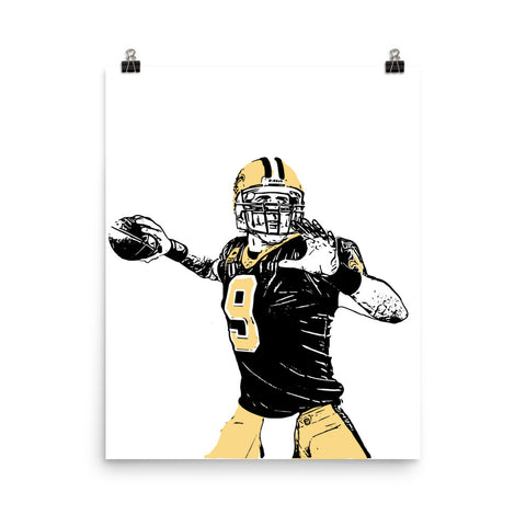 Drew Brees 11x17 Art Poster