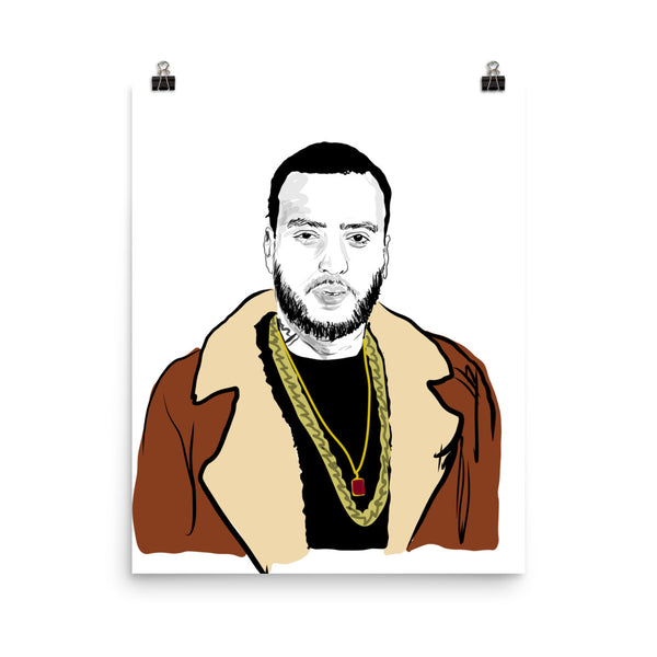 French Montana Art Poster (6 sizes) // Babes & Gents // www.babesngents.com