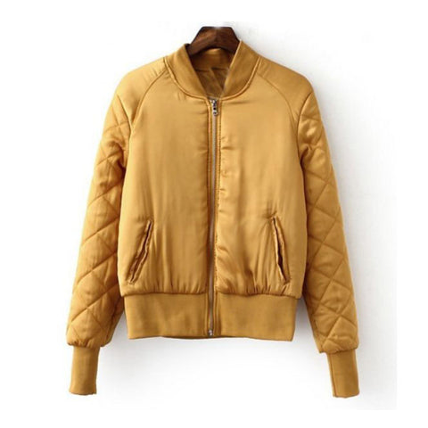Gold Bomber Jacket with quilted arms (Ladies)