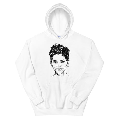 Halle Berry White Hoodie Sweater (Unisex)