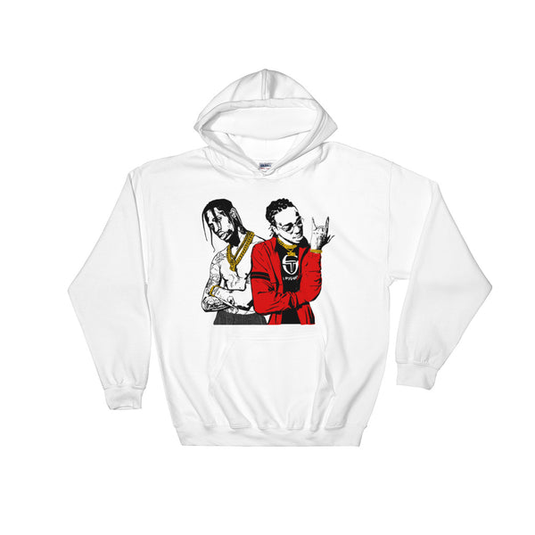 Huncho Jack Quavo and Travis Scott White Hoodie Sweater (Unisex), Babes & Gents, Ottawa