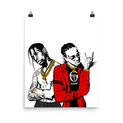 HUNCHO JACK QUAVO AND TRAVIS SCOTT 11x17 Art Poster