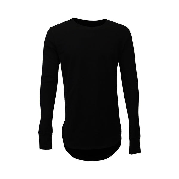 Black Thumbhole Long Sleeve Scoop Tee (Unisex) // Zargara