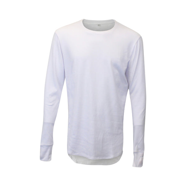 White Thumbhole Long Sleeve Scoop Tee (Unisex) // Zargara