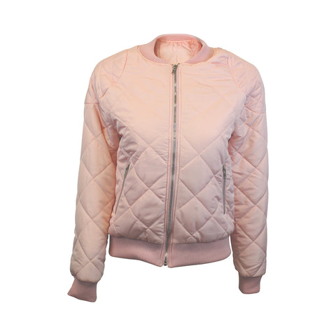 Pink Quilted Crop Bomber Jacket (Female)
