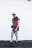 Sleeveless Plaid Button down Shirt (Unisex) // zargara streetwear hypebeast highsnobiety complex // www.babesngents.com
