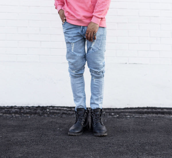 Light Blue Ripped Denim Biker Jeans // BLACK LABEL Collection // Streetwear Fashion | ZARGARA X Babes & Gents | www.babesngents.com