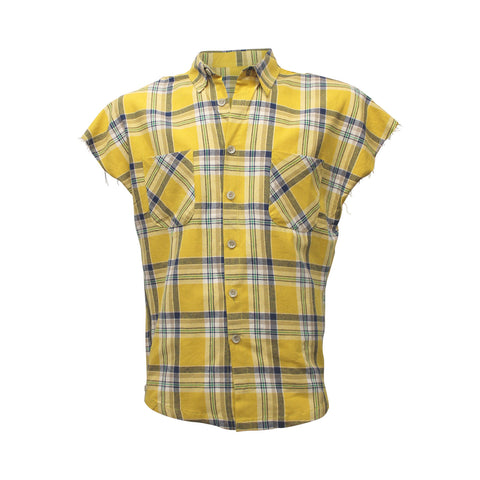 Yellow Sleeveless Plaid Flannel Button down Shirt (Unisex)