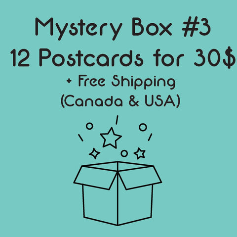 Mystery Box #3 - 12 Postcards for 30$ - Free shipping (Canada & USA)