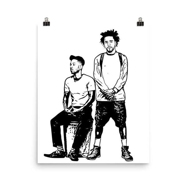 Jcole and Kendrick Lamar 2 Art Poster (8x10 to 24x36) // Babes & Gents // www.babesngents.com
