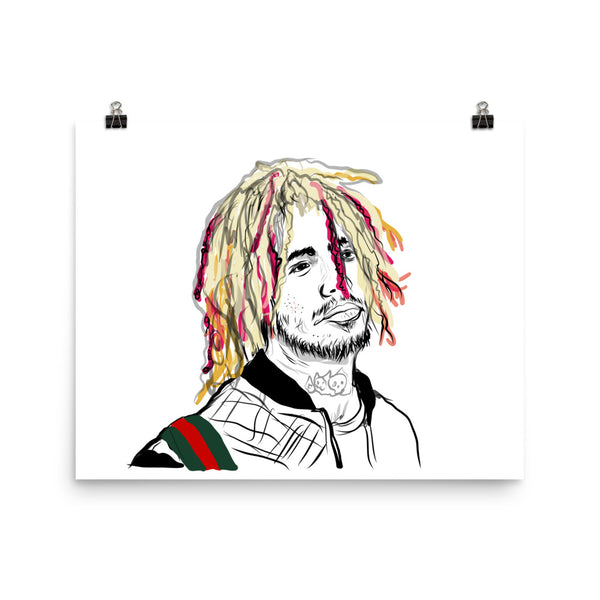 Lil Pump Art Poster (6 sizes) // Babes & Gents // www.babesngents.com