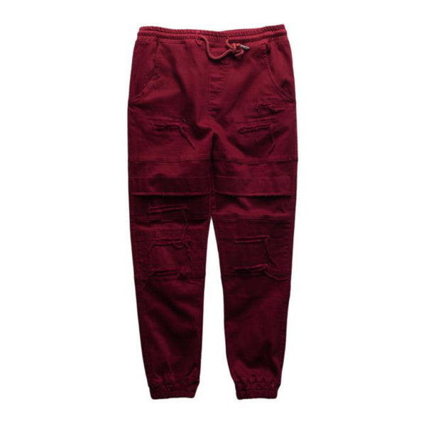 Maroon Double Layered Ripped Joggers (Unisex) // zargara