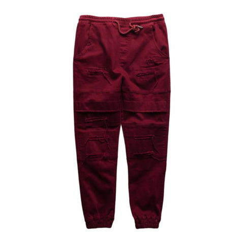 Maroon Double Layered Ripped Joggers (Unisex)