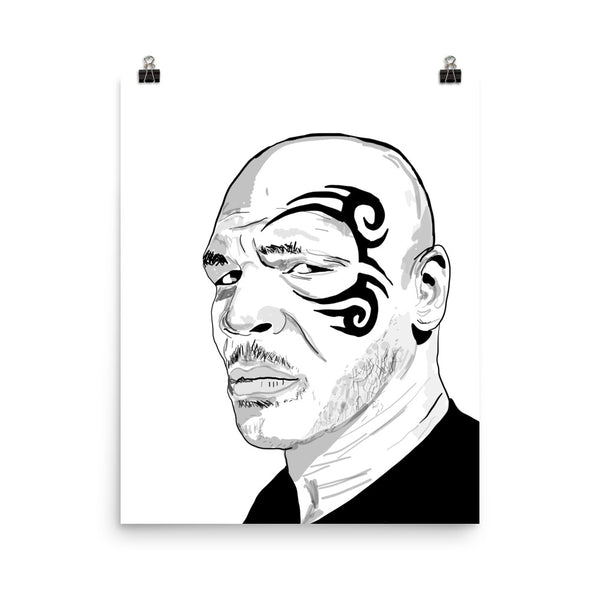 Mike Tyson 11x17 Art Poster, Babes & Gents, www.babesngents.com