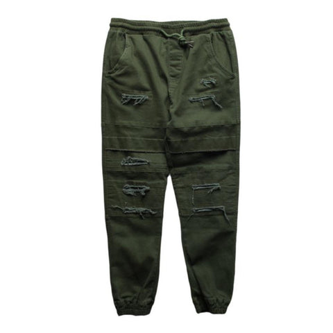 Olive Double Layered Ripped Joggers (Unisex)