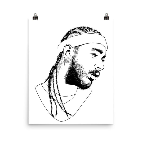 Post Malone White Iverson Stoney Art Poster (6 sizes) // Babes & Gents // www.babesngents.com