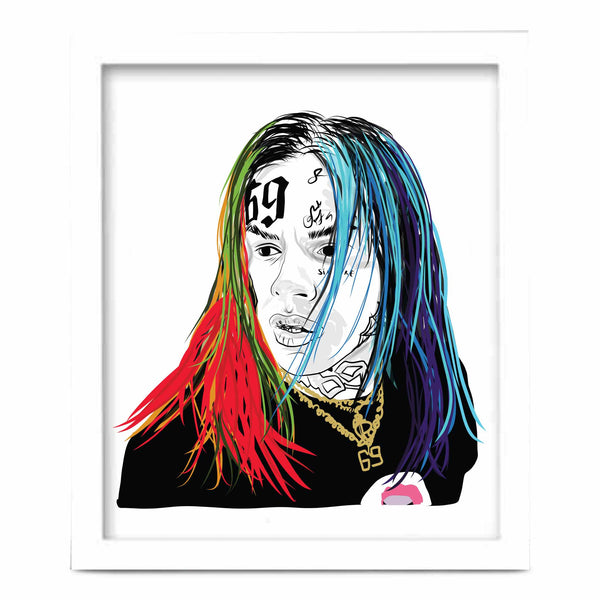 Tekashi 69 6ix9ine Art Poster (6 sizes) // Babes & Gents // www.babesngents.com