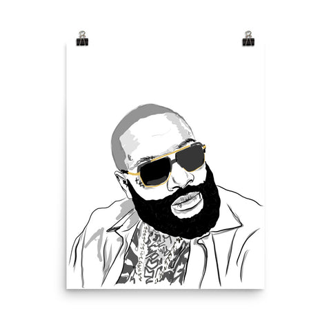 Rick Ross Art Poster (8x10 to 24x36)