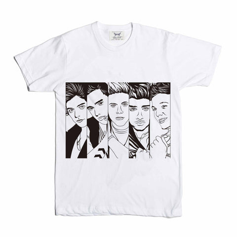 One Direction 1D White Tee // Artsy Unique Harry styles zayn malik liam payne niall horan louis tomlinson