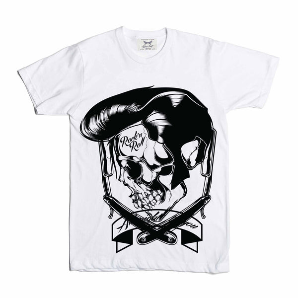 Elvis Rock N Roll Barber Skull White Tee // Babes & Gents // www.babesngents.com
