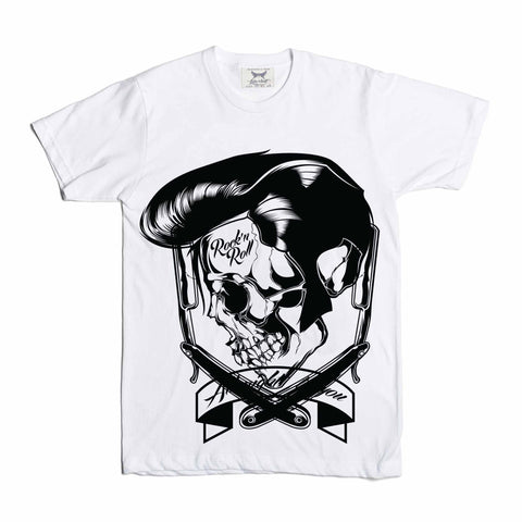 Elvis Rock N Roll Barber Skull White Tee