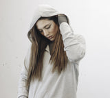 Heather Grey Half Zip Up Thumbhole Hoodie (Unisex) // Zargara