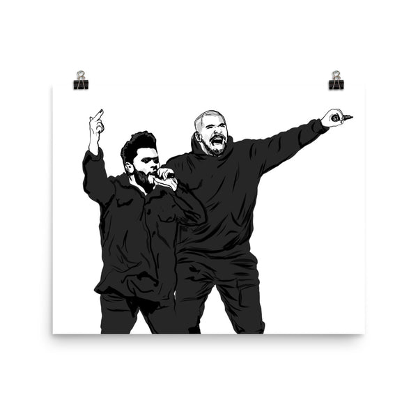 The Weeknd and Drake Art Poster (6 sizes) // Babes & Gents // www.babesngents.com