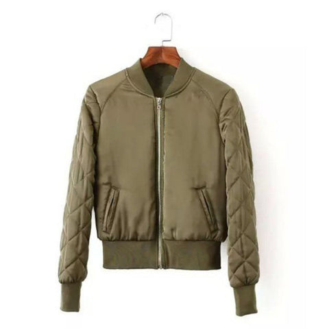 Military Olive Bomber Jacket with quilted arms (Ladies)