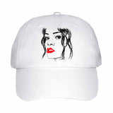 Rihanna Red Lips White Hat/Cap