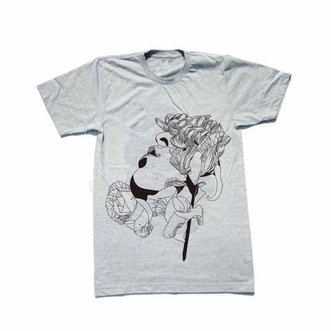 Flower Face Heather Grey Tee // Valentine Rose