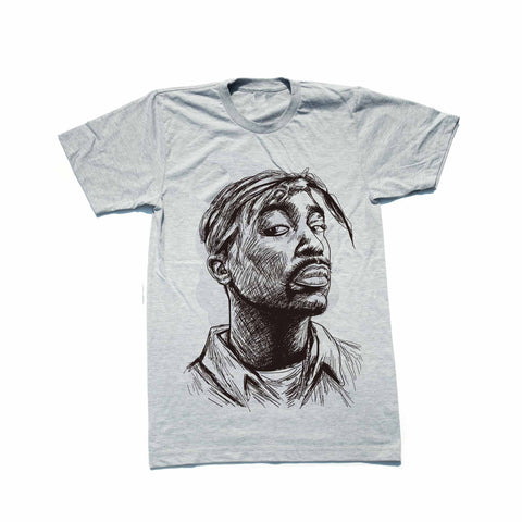 Tupac Shakur 2pac California Heather Grey Tee (Unisex)