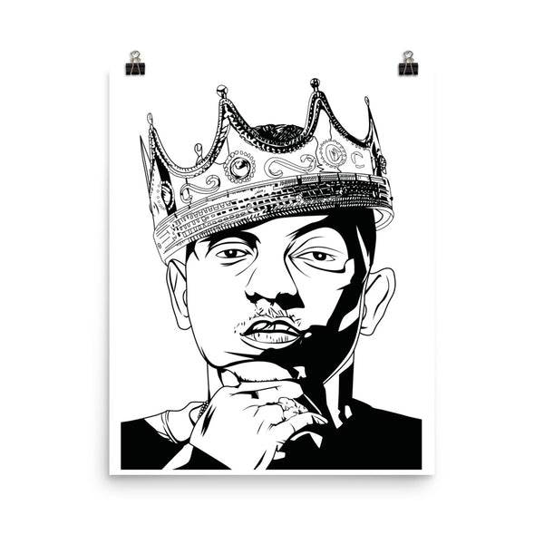 Kendrick Lamar with Crown 11x17 Art Poster, Babes & Gents, www.babesngents.com