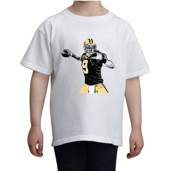 Drew Brees Kids White+Grey Tee (Unisex), Babes & Gents, babesngents.com