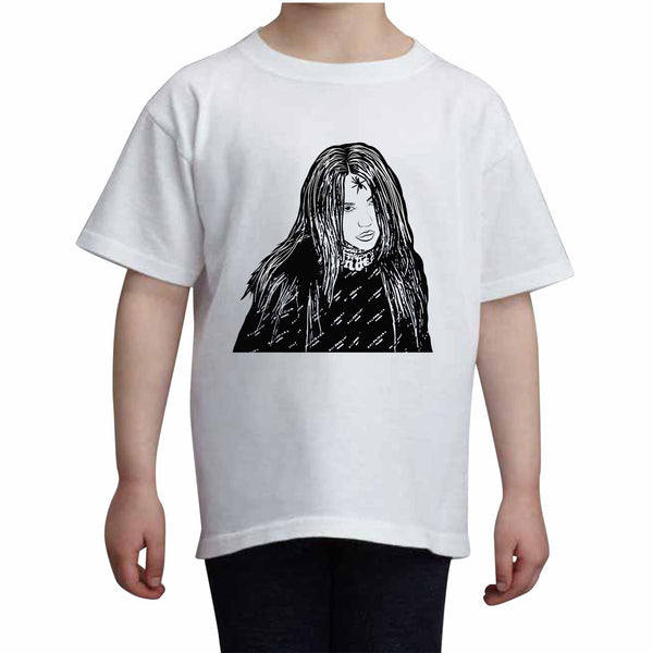 Billie Eilish Kids White+Grey Tee (Unisex), Babes & Gents, babesngents.com