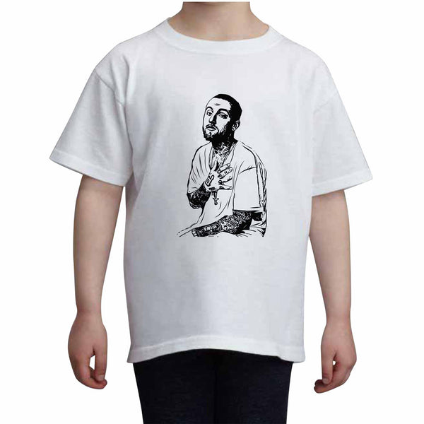 Mac Miller 2 Kids White+Grey Tee (Unisex), Babes & Gents, babesngents.com