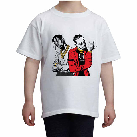 Huncho Jack Quavo and Travis Scott Kids White Tee (Unisex)