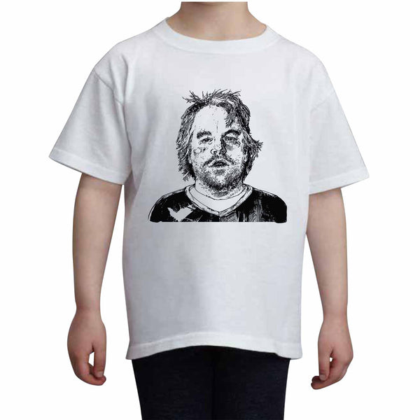 Philip Seymour Hoffman Kids White+Grey Tee (Unisex), Babes & Gents, babesngents.com