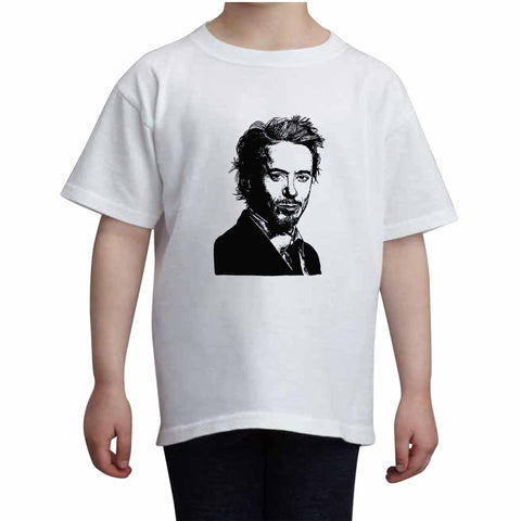 Robert Downey, Jr. Robert Downey Jr Kids White+Grey Tee (Unisex)