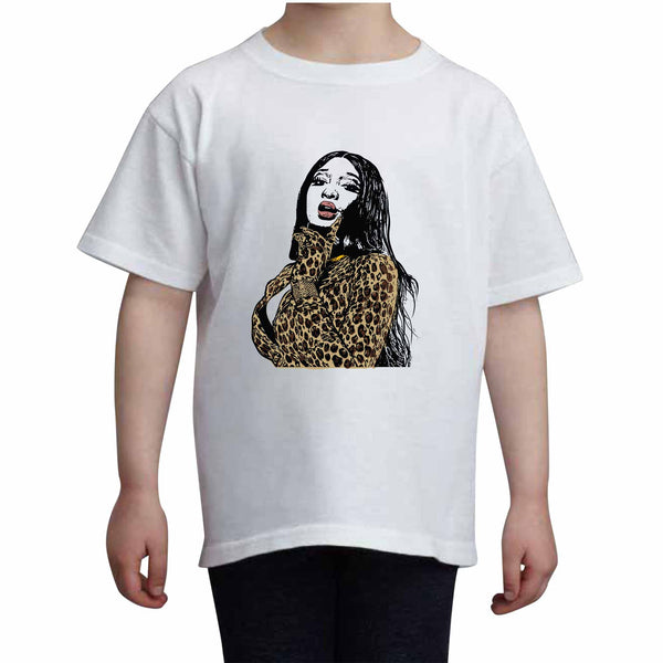 Megan Thee Stallion Kids White+Grey Tee (Unisex), Babes & Gents, babesngents.com