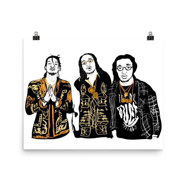 Migos Quavo Offset Takeoff Art Poster (6 sizes) // Babes & Gents // www.babesngents.com
