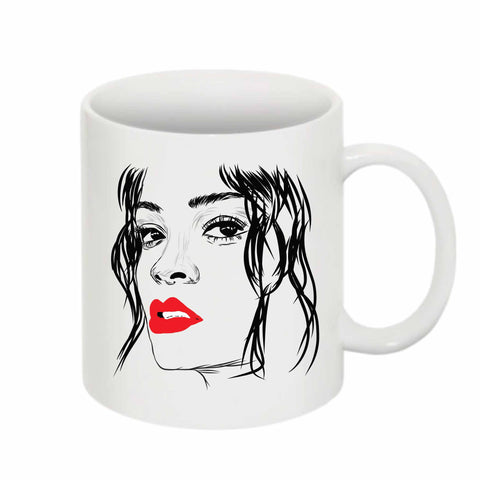 Rihanna Red Lips 11 0Z Ceramic White Mug